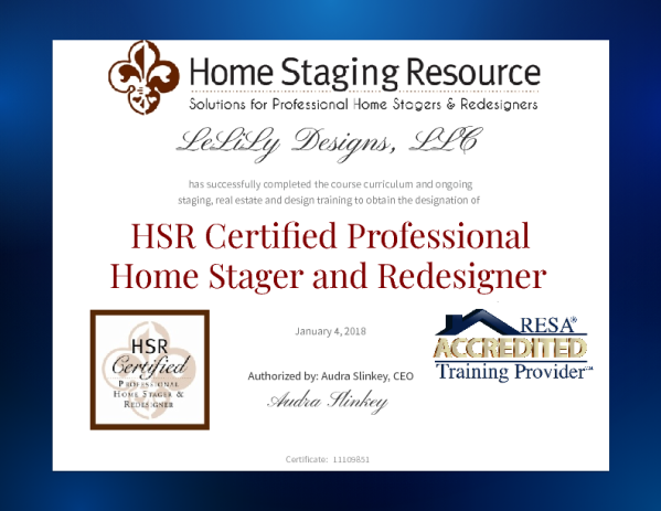 Completed the 21-Day, HSR Certification in Home Staging and Redesign ...