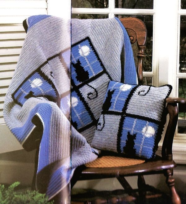 Free Crochet Cat Afghan Pattern | Cat in the Window Afghan | Crochet ...