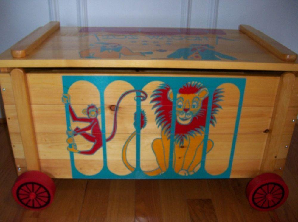 Vintage Wood Toy Box Chest Circus Design Storage Wheels Keepsake Hope Classic Masterwoodcraft Wood Toy Box Toy Chest Wooden Toy Chest