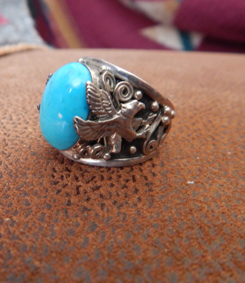 turquoise ring size 13 Southwestern jewelry sterling Texas mens