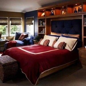 Elegant Bedrooms For Young Men With Red Blanket And Brown And Navy Blue  Walls , Cool