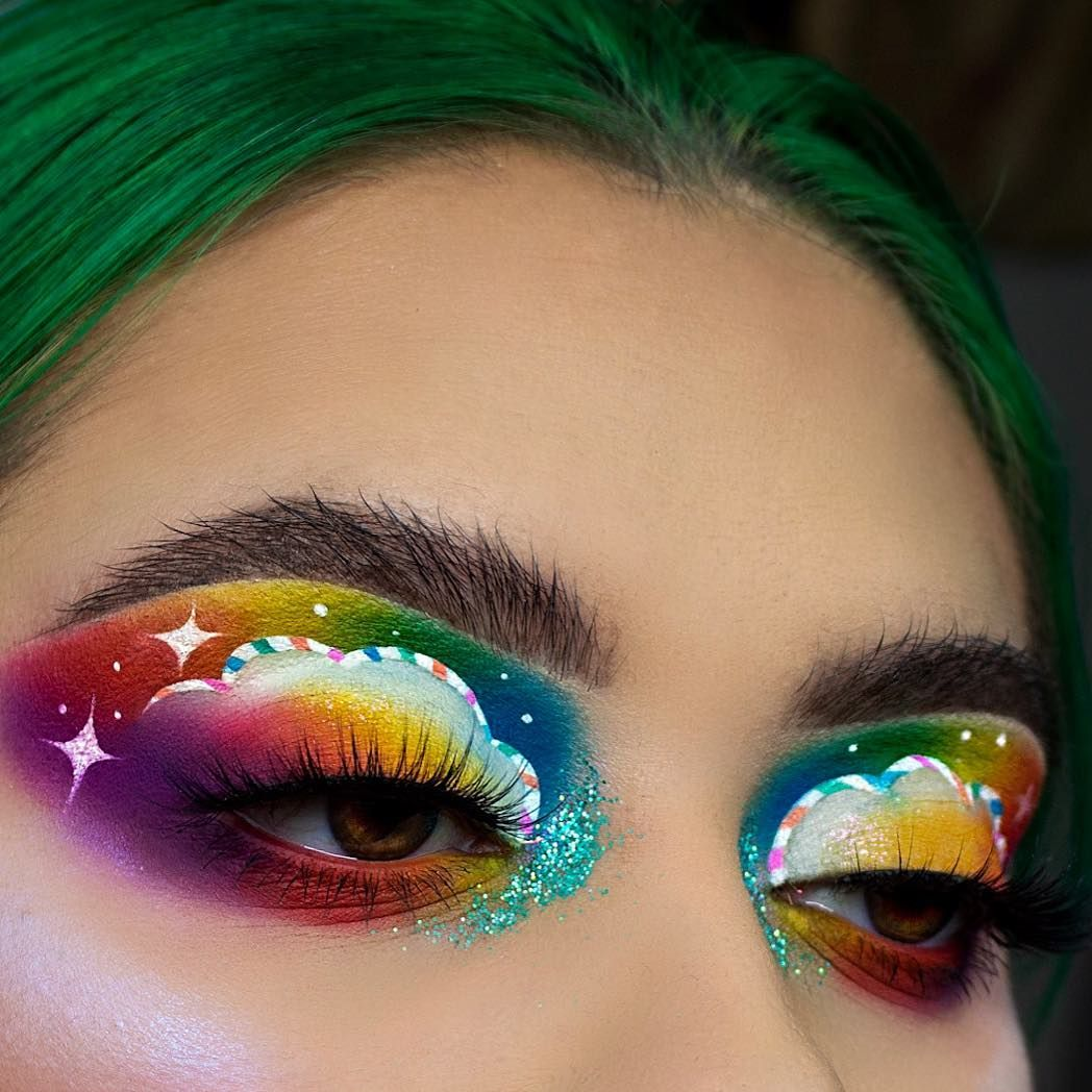 Rainbow Christmas candy cone cloud eye look with the James