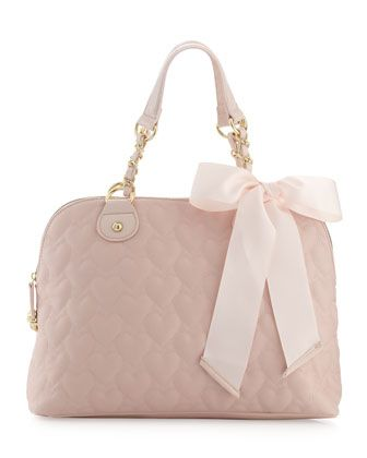 Heart-Embossed Satchel Bag, Pink by Betsey Johnson at Last Call by Neiman Marcus.,,