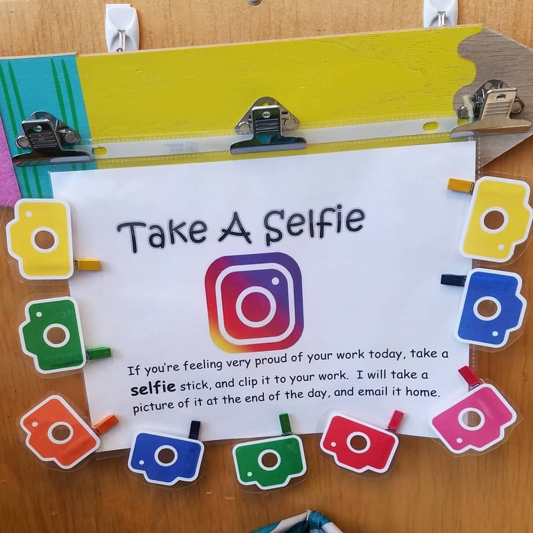 One of my favorite things! #takeaselfie #classroomedition 😁😜🤩📸 When kids  are proud of their work, they grab a selfie stick and leave in bin…
