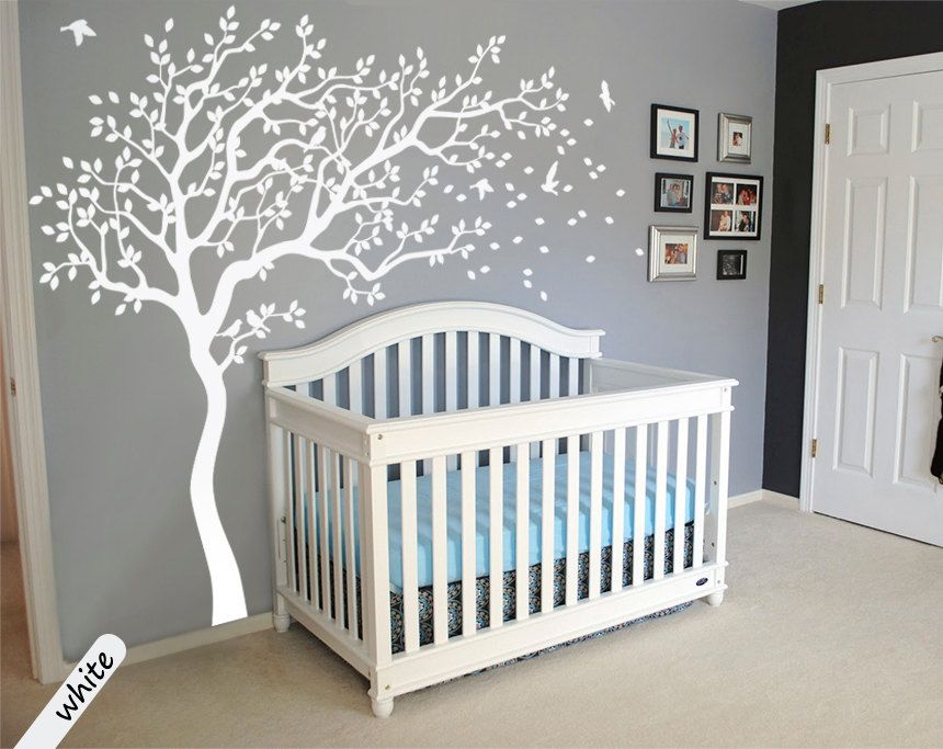 White Tree Decal Large Nursery Tree Decals With Birds Unisex White Tree  Decals Wall Tattoos Wall