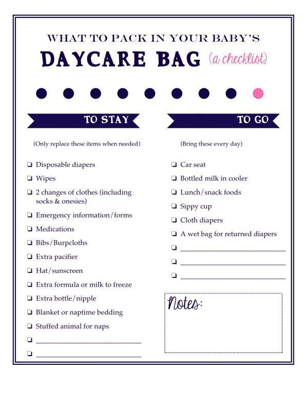 What To Pack In Your Baby'S Daycare Bag: A Free Printable