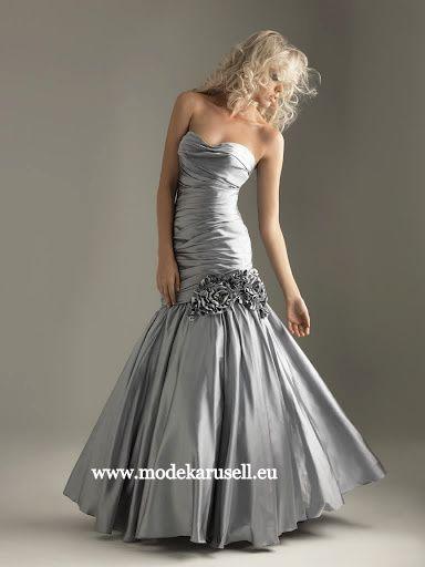 Abendkleid Adonia in Silber grau Lang www.modekarusell.eu ...