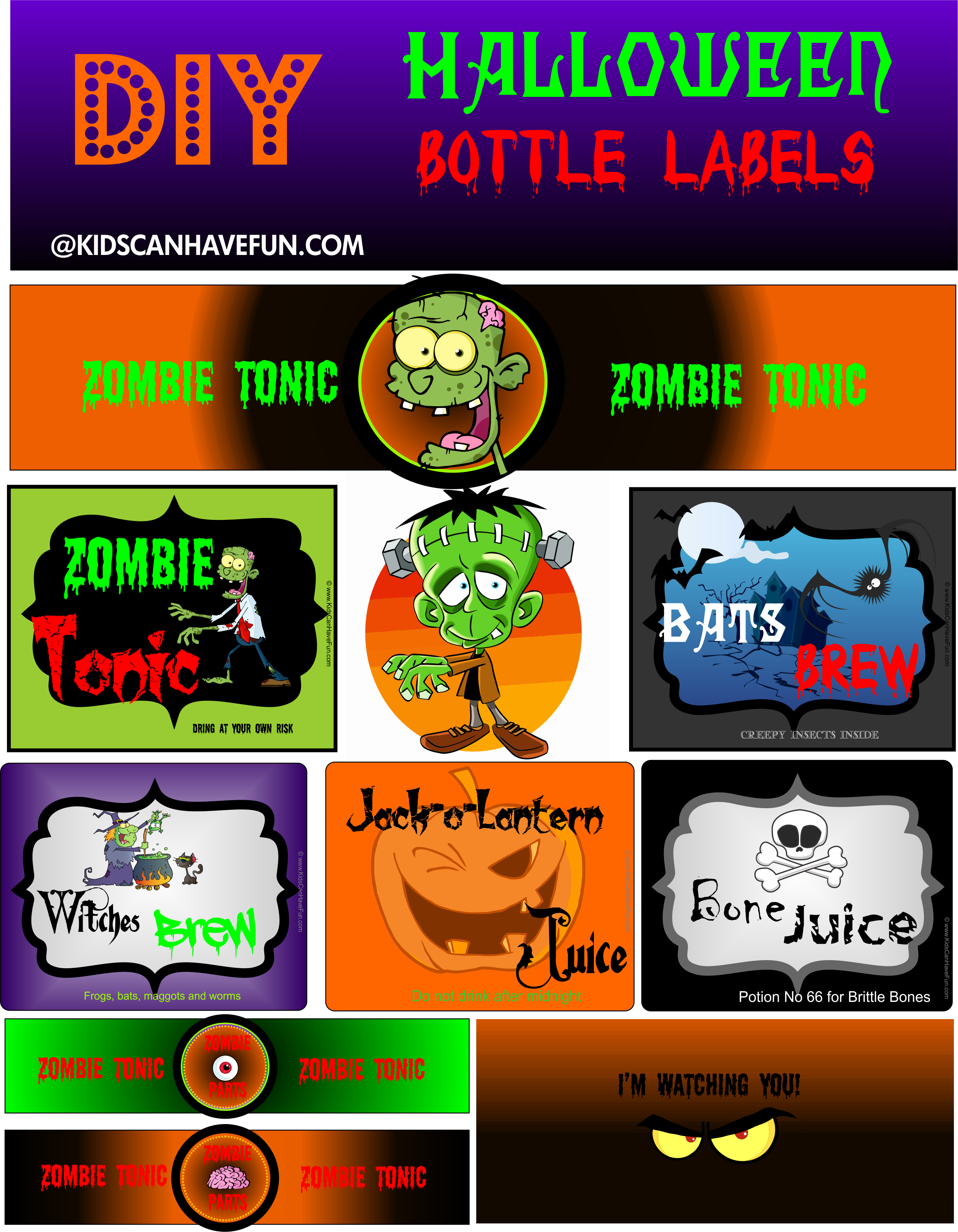 Diy Halloween Bottle Labels For The Party