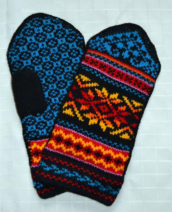 Norwegian Scandinavian hand crafted 100% Wool Mittens ...