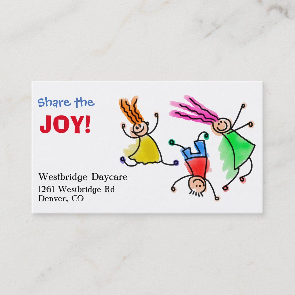 Photo of Share the Joy Childcare Business Card