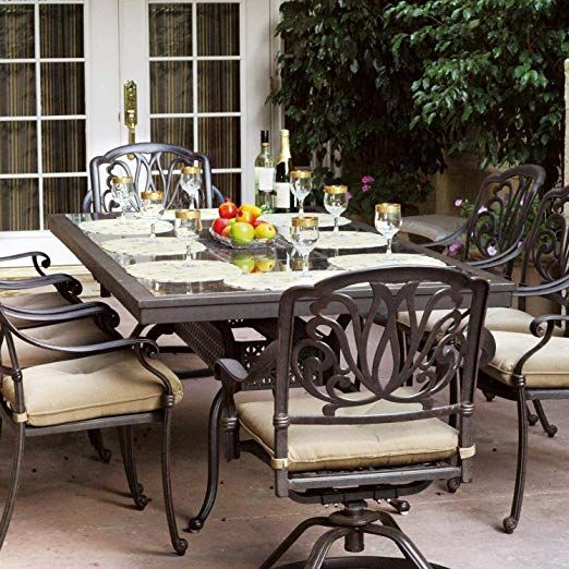 9 Piece Cast Aluminum Patio Dining Set With Granite Top Table