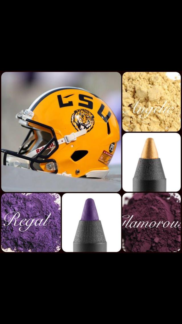 LSU makeup!! Geaux tigers!! Love these colors for football! Get them at www.chercherlashes.com