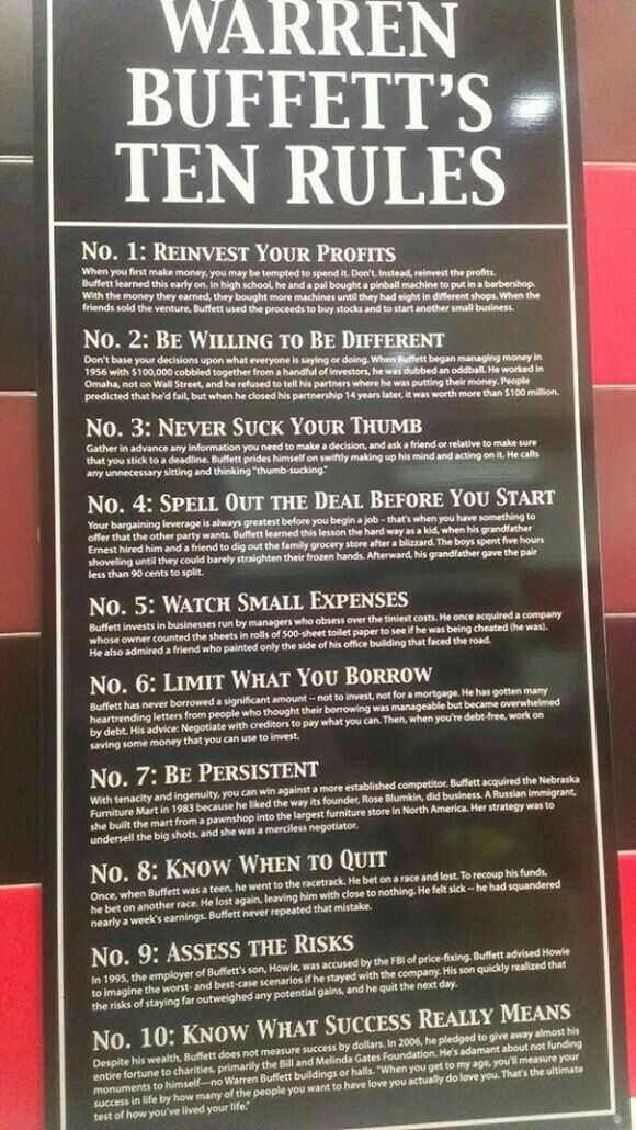 Warren Buffett\u0027s Ten Rules Go Pro Pinterest Business, Warren