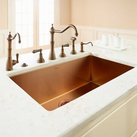 Beautiful and long-lasting the Copper finish of the ROHL Stainless Kitchen Sink's durability prevents it from tarnishing or pitting. #AuthLux