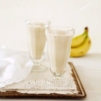 Peanut butter banana smoothie  Ingredients  1 small (ripe) banana, cut in half   1/2 cup(s) (low-fat ) milk  1 teaspoon(s) creamy peanut butter  3  ice cubes    Directions  1.In blender, combine banana, milk, peanut butter, and ice cubes