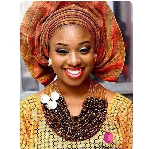 Yellow lace, burnt orange Gele and chocolate brown jewelry ...