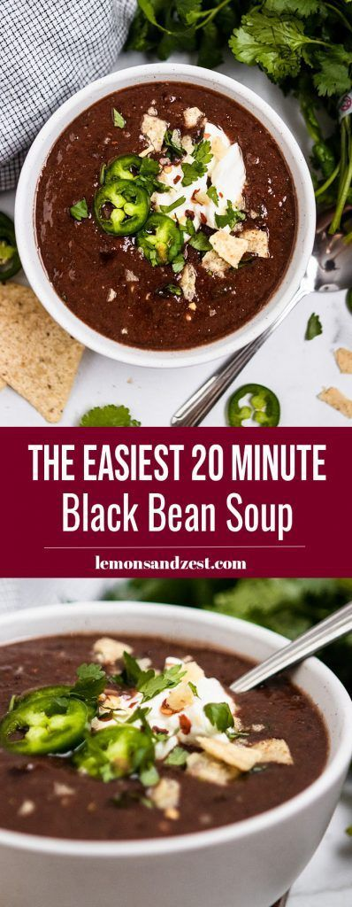 20 Minute Black Bean Soup Recipe Whipping up a big bowl of soup doesnt get any easierthis Black Bean Soup recipe is ready and in the bowl in 20 minutes A jar of your favo...