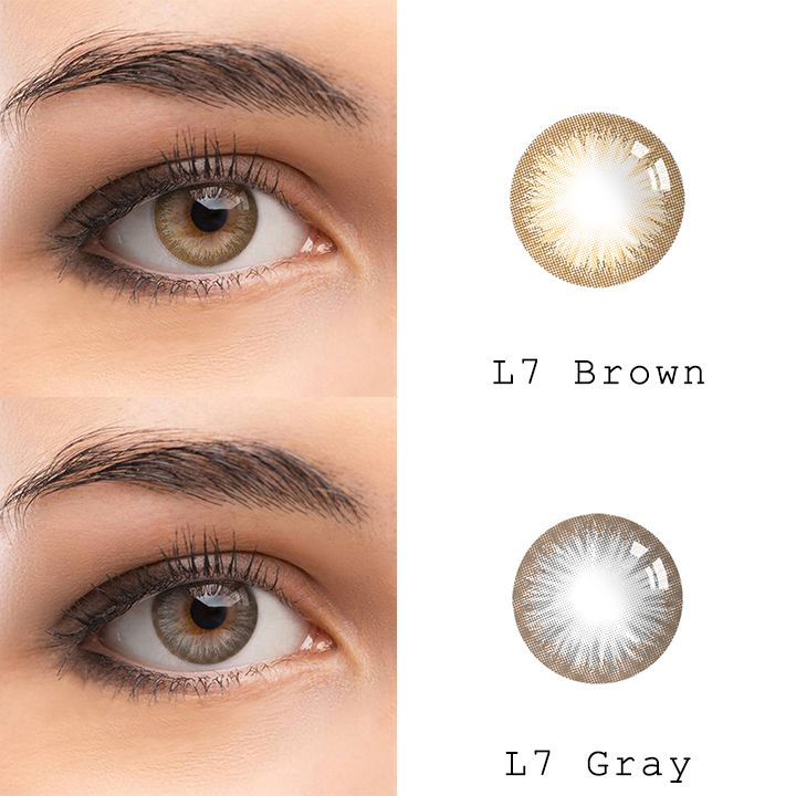 microeyelenses.com Colored contact lenses online shop. L7 series: Brown and gray #coloredeyecontacts