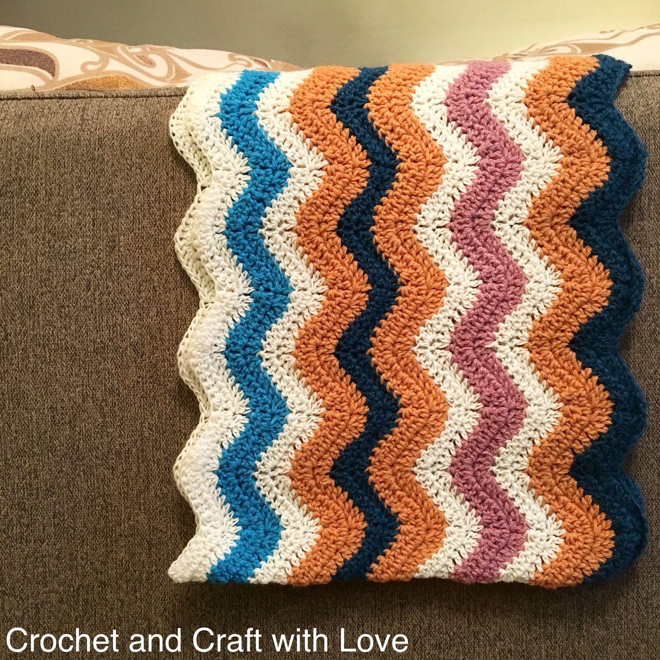 كروشيه غرزة الزجزاج الغرزة المموجه Chevron Stitch Crochet Crochet Baby Crochet Blanket