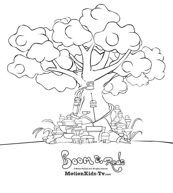 La ciudad del árbol de las divertidas setas reds. Dibujos