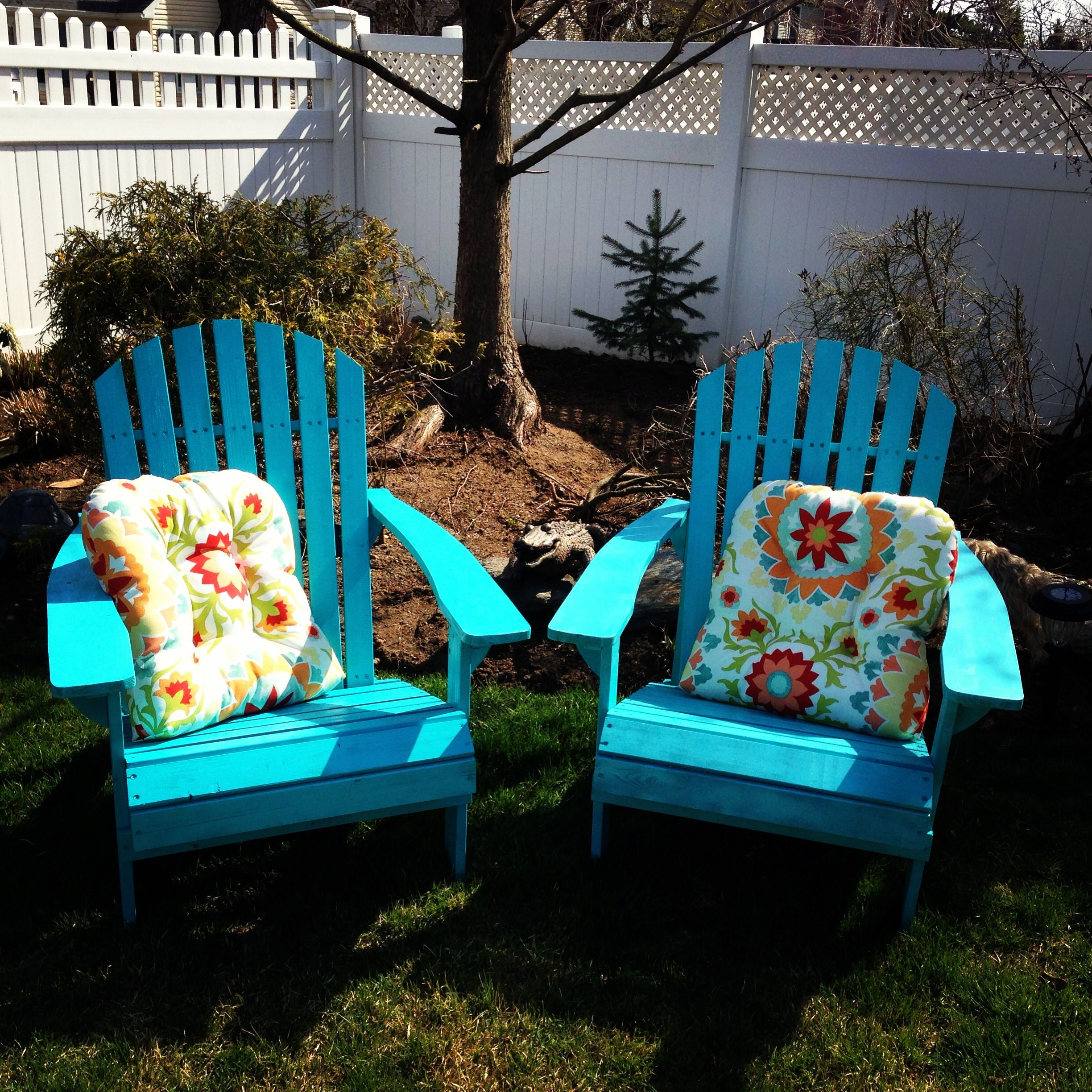 My latest DIY Painted raw wood adirondack chairs with Rustoleum
