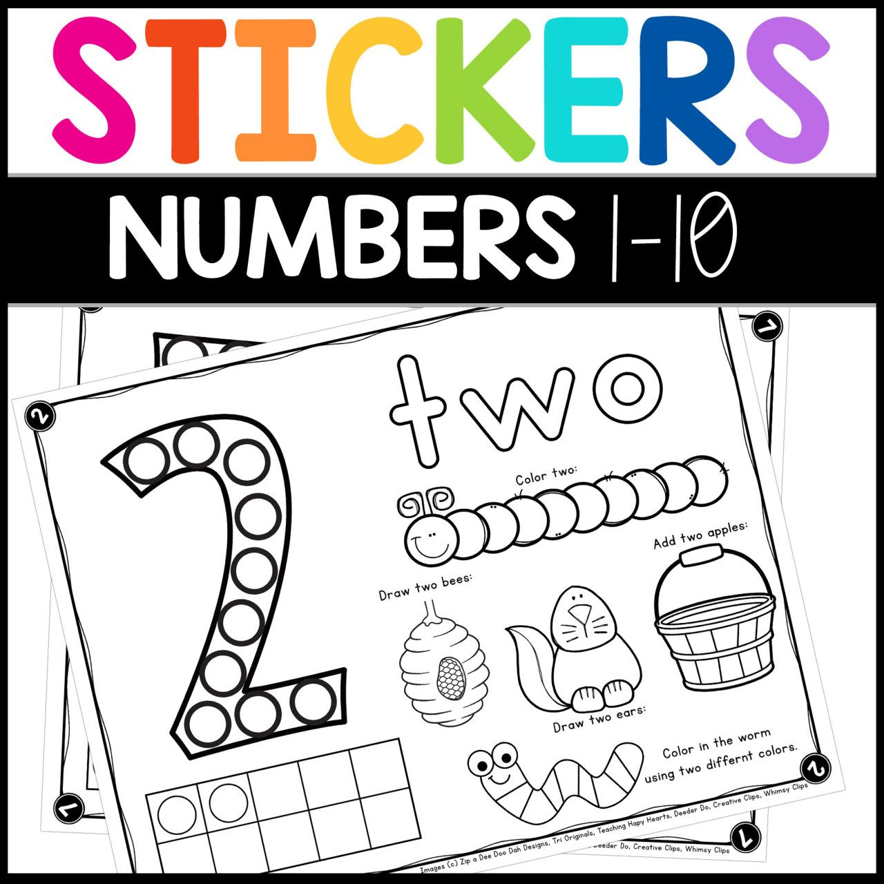 Sticker Worksheets Numbers 1 10