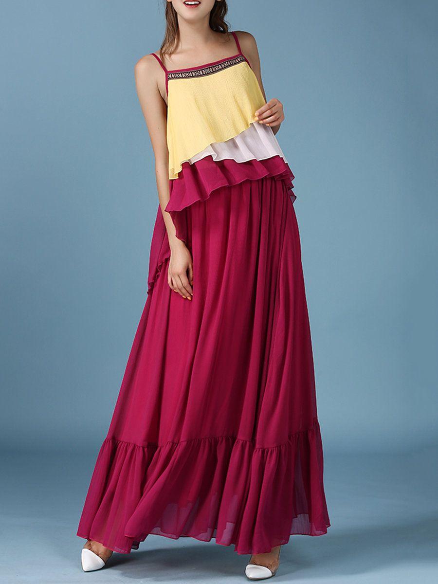 #AdoreWe #StyleWe MINGYSYI Red Ruffled Two Piece Spaghetti Maxi Dress - AdoreWe.com