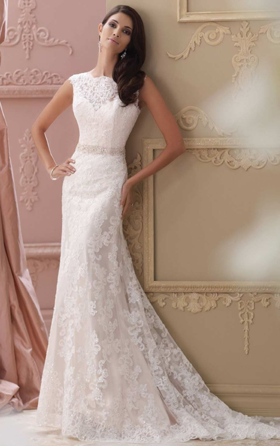 bridal gownswedding dressessheath lace jewel natural floor