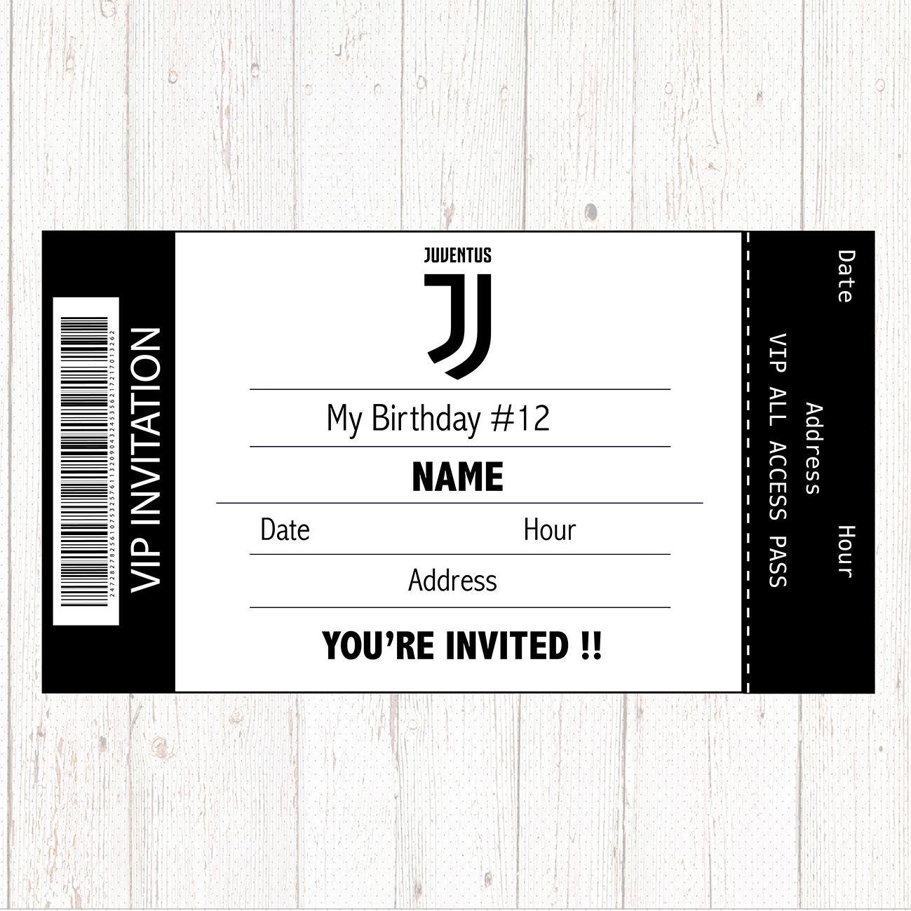 Juventus Invitation Printable Digital Birthday Party
