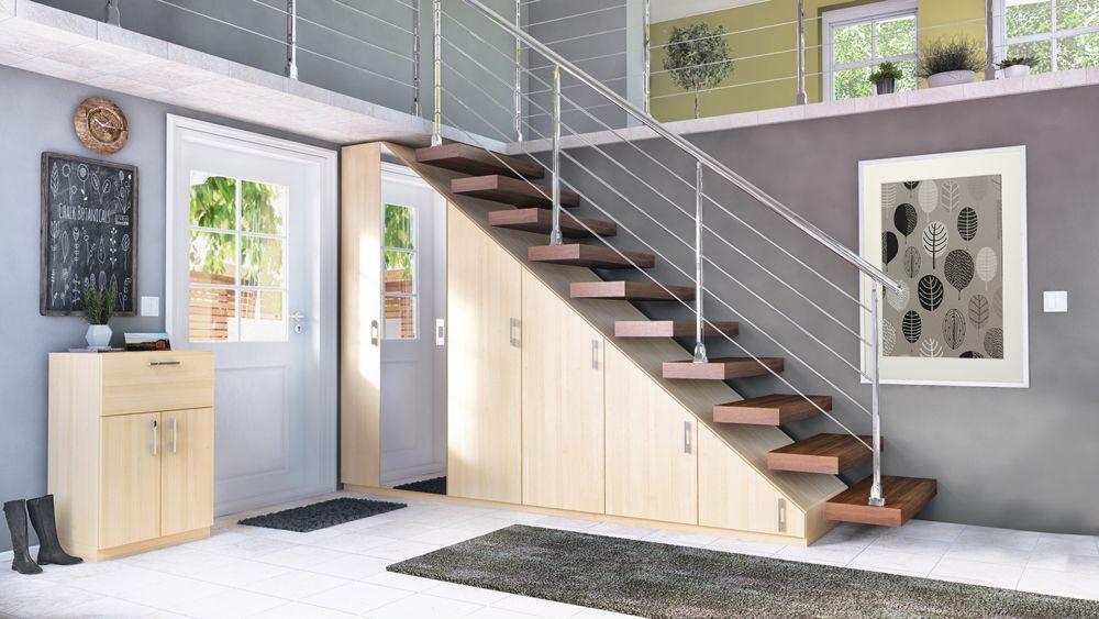 Ein Treppenschrank eignet sich optimal, um Stauraum im - kleiderschrank schiebeturen stauraumwunder