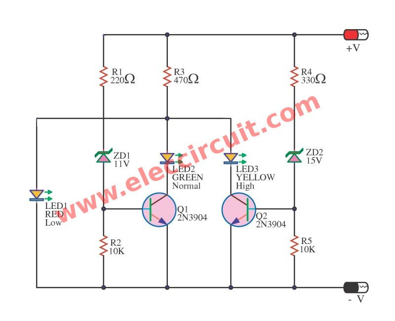 4 Led Voltage Indicator Circuits