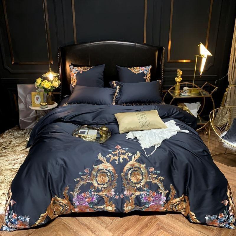 Leroux Black Egyptian Cotton Premium Embroidery Duvet Cover Set Blue Bedding Sets Cotton Bedding Sets Egyptian Cotton Bedding