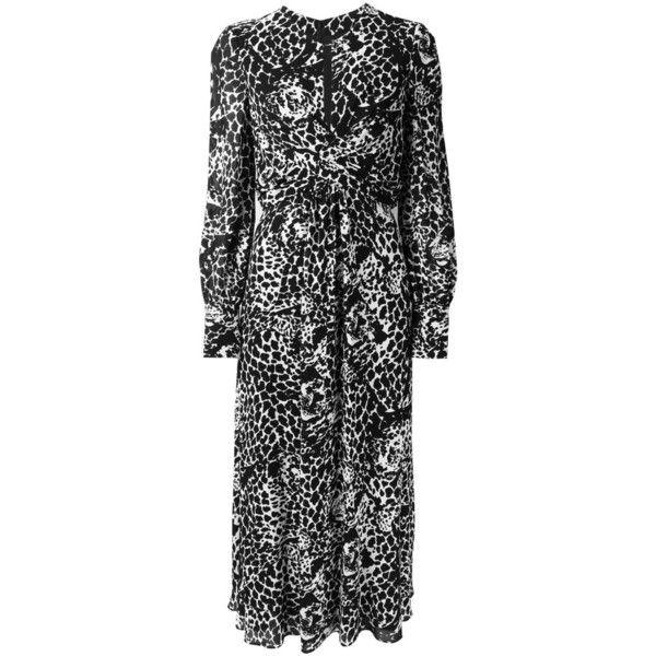 Saint Laurent tiger print long dress (370.175 RUB) ❤ liked on Polyvore featuring dresses, black, print dress, patterned skater skirt, tiger print dress, print wrap dress and print skater skirt