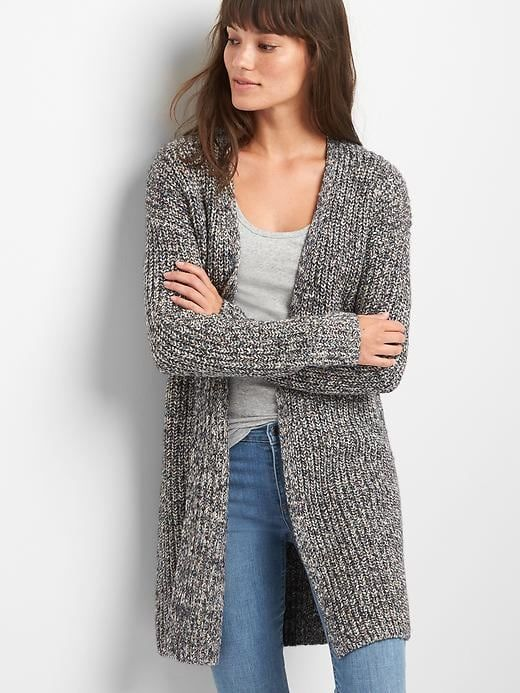 5d3b7a84a6 Gap Womens Textured Open-Front Cardigan Charcoal Heather