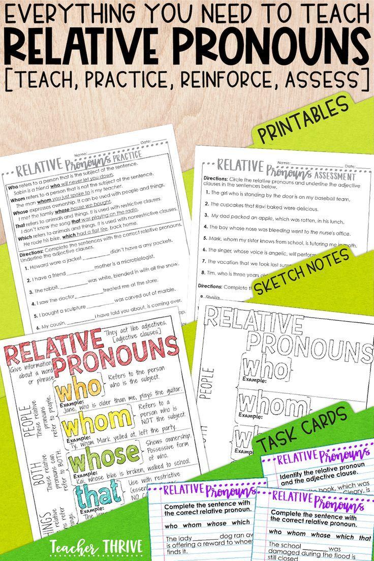 Fourth Grade Grammar Relative Pronouns Relative