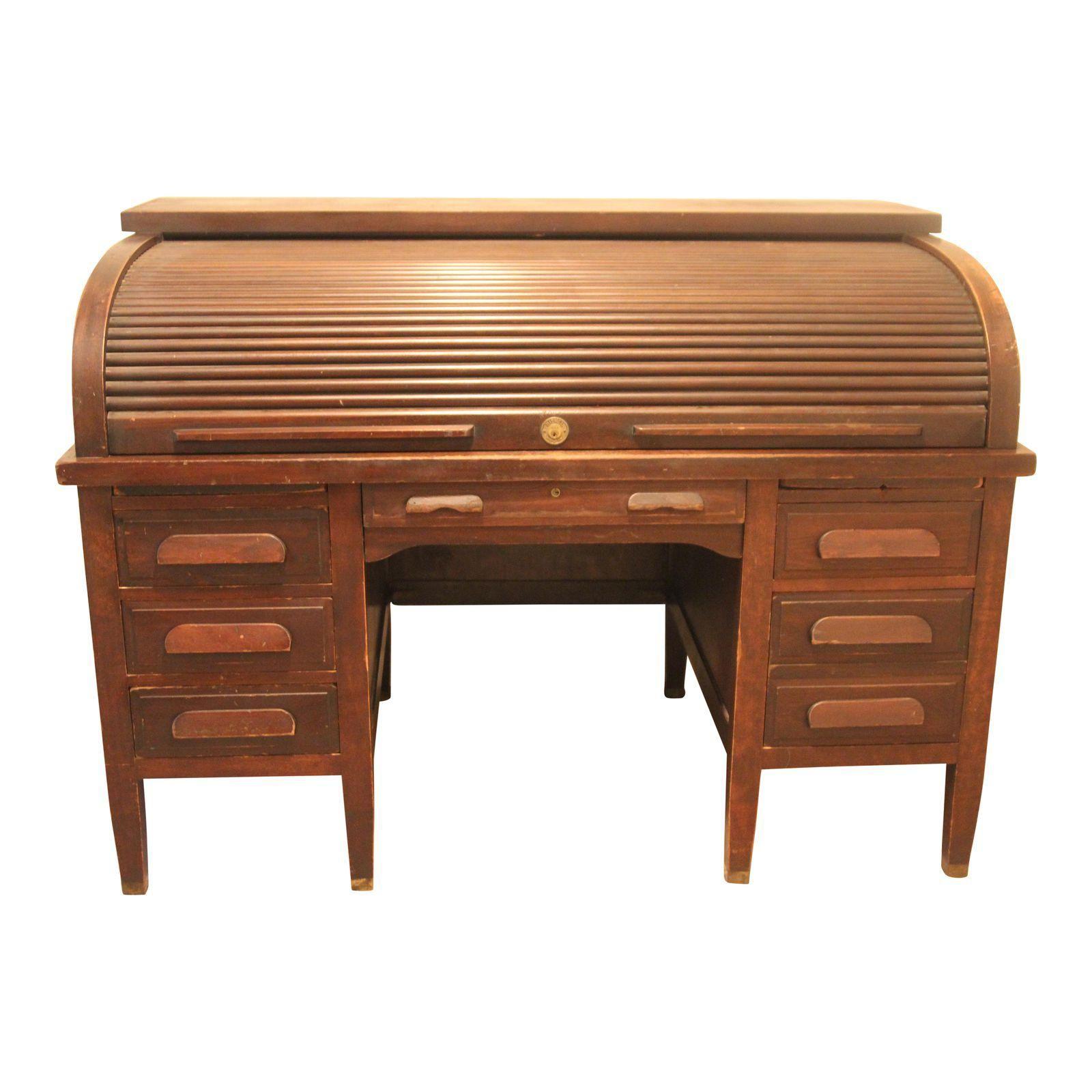 Mahogany American Rishel Antique Roll Top Desk Roll Top Desk Desk American Craftsmanship