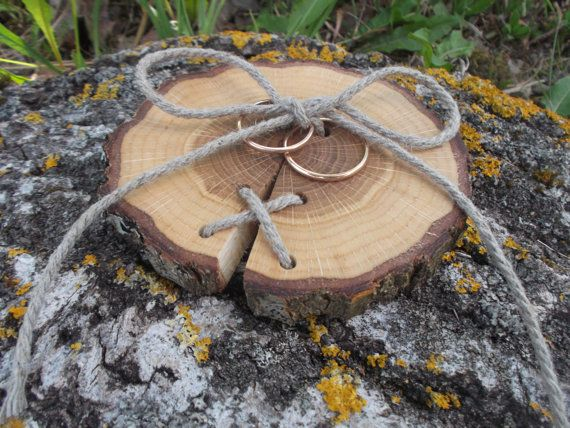 Wood Wedding Ring Bearer Slice Rustic Ring Bearer Pillow Rustic