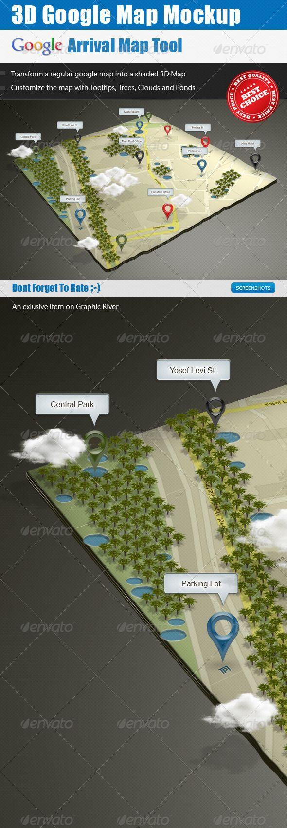 3D Google Map Mock-up | Mockup, Psd templates and Graphics