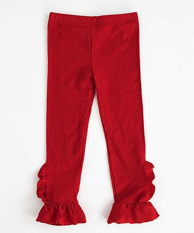 Another great find on #zulily! Red Ruffle Leg Leggings - Toddler & Girls #zulilyfinds