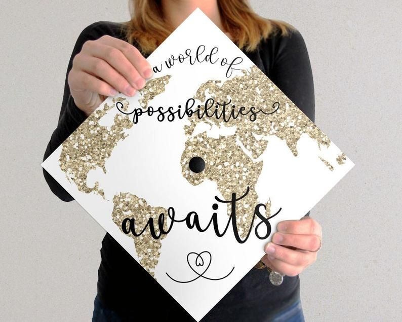 Graduation Cap Decoration | DOWNLOAD ONLY | A World Of Possibilities Awaits | White Background