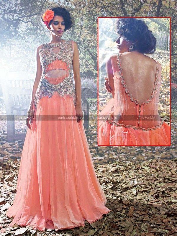 Pink N Peach Net Dazzling Designer Evening Gown | Indo Western Gowns ...