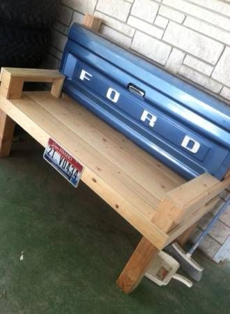 Ford bench, for sale on Craigslist, cute if you're a truck