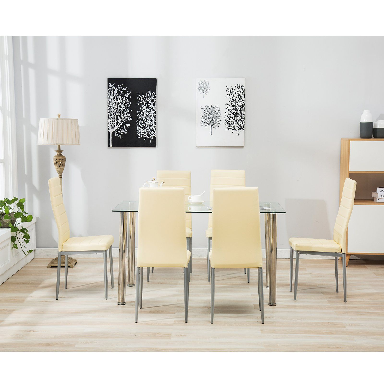 1908e70271a2b Mecor 5 Piece 7 Piece Glass Dining Table Set with Leather Chairs Kitchen  Furniture Beige 7 PC   You can get more details by clicking on the image.