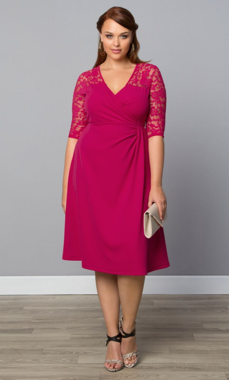 Red lace dress plus size  Mixed Lace Cocktail Dress  Plus Size Fashion  Pinterest