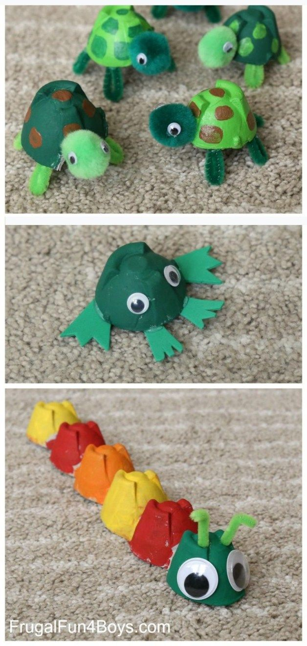 Adorable Egg Carton Turtle Craft (And a Caterpillar and Frog too!) #recycledcrafts