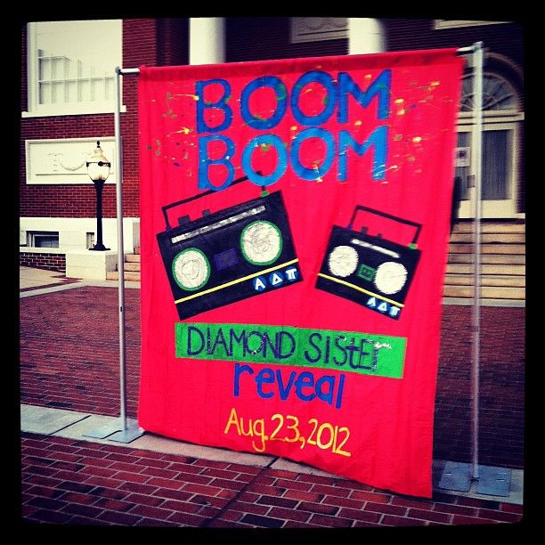 "Zeta Iota chapter's banner for Diamond Sister Reveal at Georgia College! <> Tied into their bid day theme -- ""New Bids on the Block"""