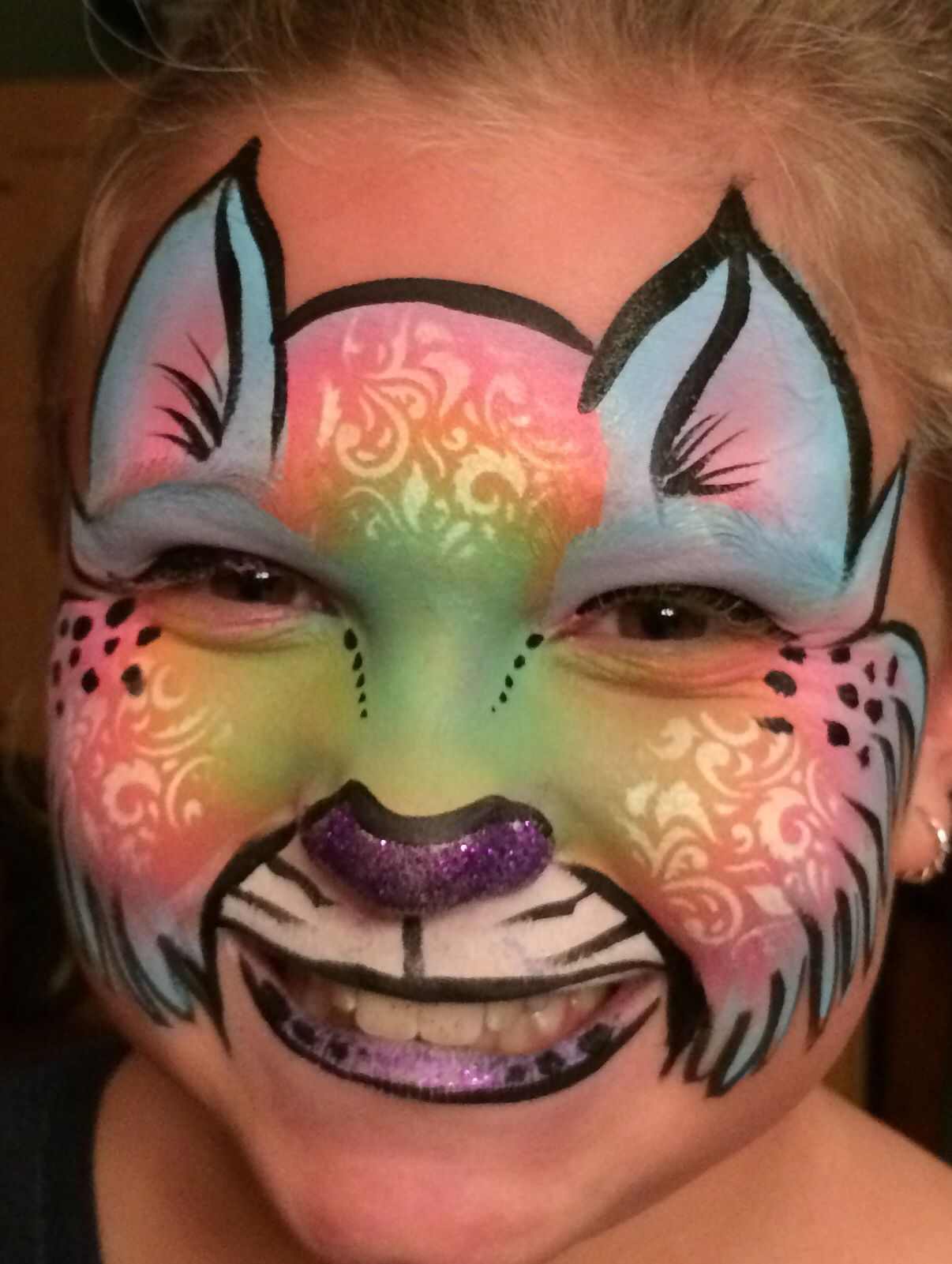Cute kitty cat face paint BAM stencil used for texture ...