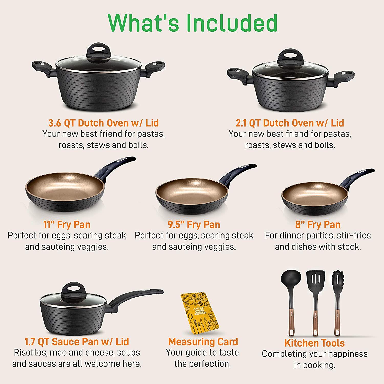Nutrichef 12 Piece Nonstick Kitchen Cookware Set Kitchen Cookware Sets Pots And Pans Sets Cookware Set