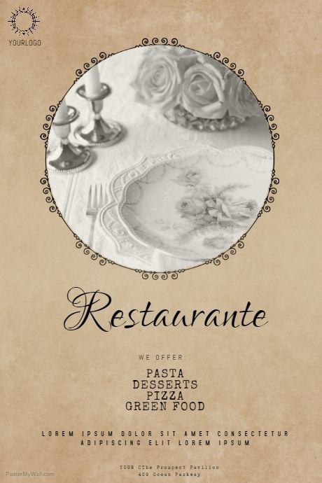 Vintage restaurant flyer template   PosterMyWall   Free Restaurant ...