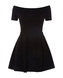 Robe Patineuse Noire A Col Bateau Pour Ado New Look Noemie